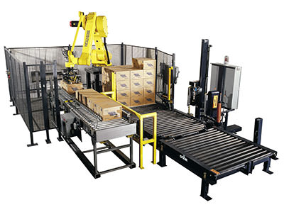 Mini palletizer and stretch wrapping machine